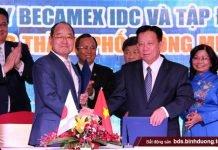 Lãnh đạo tỉnh Bình Dương chứng kiến ký kết ghi nhớ hợp tác giữa Tổng công ty Becamex IDC (trực thuộc UBND tỉnh) và đối tác Nhật Bản
