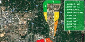 Màu đỏ khu vực đất có tiềm năng, màu xanh lá khu vực đất dân thưa thớt.