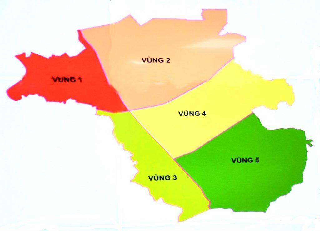 Quy hoạch vùng huyện Long Thành sẽ được phân thành 5 phân vùng phát triển xác định bởi địa giới hành chính, các tuyến giao thông chính và địa hình tự nhiên.