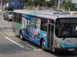"""Dự án sẽ bao gồm hạng mục triển khai tuyến xe buýt nhanh (BRT) nối Bình Dương - TP.HCM. Trong ảnh: xe buýt """"xanh"""" do doanh nghiệp Nhật Bản đầu tư - Ảnh: B.S."""