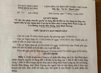 Dự án Khu nhà ở nông thôn Nam Long do UBND tỉnh cho phép chuyển nhượng đầu tư.
