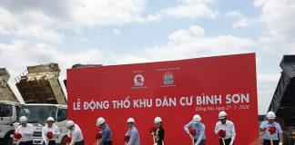 Ban lãnh đạo Kim Oanh Group cùng đại diện các đối tác thực hiện nghi thức lễ động thổ dự án khu dân cư Bình Sơn