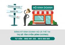 Đăng ký hộ kinh doanh cá thể (hộ gia đình) tại Thị xã Tân Uyên