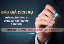 Báo giá dịch vụ thành lập công ty, đăng ký kinh doanh tại Bình Dương