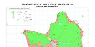 Bản đồ điều chỉnh quy hoạch sử dụng đất đến năm 2020 huyện Phú Quốc.