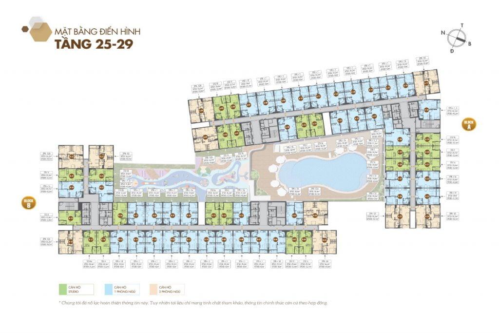 Mặt bằng điển hình tầng 25 - 29 (Block B) - Căn hộ Legacy Central