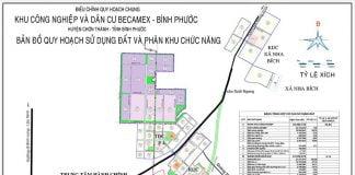 Bản đồ mặt bằng và phân khu chức năng KCN Becamex Chơn Thành (Bình Phước)