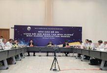 """Lãnh đạo tỉnh dự hội nghị báo cáo Đề án """"Vùng đổi mới sáng tạo Bình Dương – Binh Duong Innovation Region"""". Ảnh: PHƯƠNG AN"""