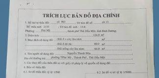 Trích lục nhà đất tại đường nhánh DX037 Phú Mỹ, Thủ Dầu Một