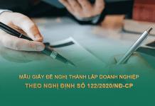 Mẫu giấy đăng ký thành lập công ty, doanh nghiệp theo Nghị định số 122/2020/NĐ-CP