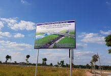 Bản cắm thông báo công trình Cầu Đò mới qua sông Thị Tính tại dự án Mega City Bến Cát