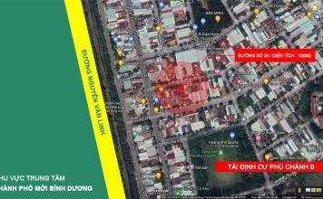 Vị trí lô đất 100m2, đường 36, Khu tái định cư Phú Chánh B