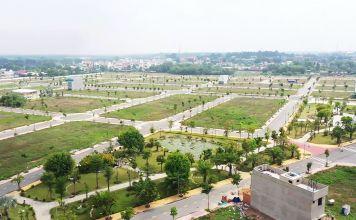 Tổng thể Mega City Bến Cát từ công viên trung tâm dự án
