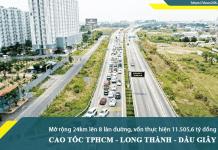 Mở rộng đường cao tốc TP.HCM - Long Thành - Dầu Giây từ 4 làn xe lên 8 làn xe
